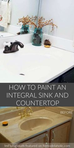 Did you know you can update your bathroom integral sink with paint? Learn how with this budget-friendly painted bathroom sink and countertop makeover. Bathroom Vanity Makeover, Bathroom Vanity Tops, Diy Bathroom Remodel, Small Bathroom, Bathroom Ideas, Bathroom Remodeling, Bathroom Makeovers, Modern Bathrooms, Painted Bathroom Vanities