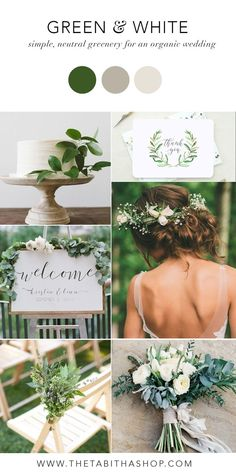 Green & White Color Inspiration for a Simple Neutral Wedding! Love the greenery and white color palette