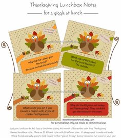 Get our Thanksgiving Lunchbox Notes so you can start putting them in the kid's lunch on Monday!!! 20 in the collection