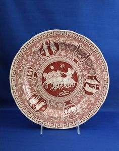 Your place to buy and sell all things handmade Greek Key, Scalloped Edge, Urn, Decorative Plates, Porcelain, Antiques, Beautiful Things, Cabinet, Dinner