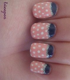 Polka dot and half moon mani.