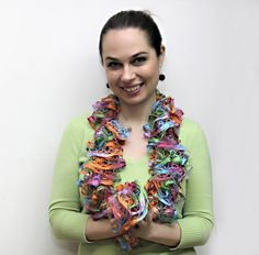 The FrouFrou Lace Scarf  Hand Knit Ruffled Shawl  by Solandia, $29.00