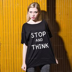 Oversize Off Shoulder T-shirt  Stop and Think  by TshirtsTakeaway