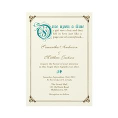 Storybook Fairytale Wedding Invitation - Teal by oddowl $1.80 per invite.