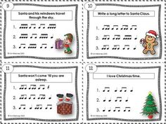 CHRISTMAS Rhythm Task Cards  Included in this product is... ♫ 24 Task Cards  ♫ Student Record Sheet  ♫ Answer Key