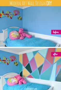 Tween bedroom modern art redesign before and after