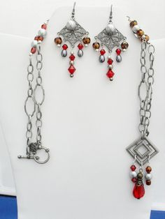 Spanish pewter chain red crystals silver gray by ElmsRealm on Etsy, $28.00