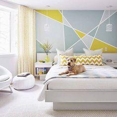 wallpaper design ideas painters tape criss cross wall design