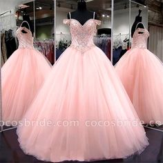 Pink Quinceanera Dresses 2018 Modest Masquerade Ball Gown Prom Dress Sweet 16 Girls Birthday Party Lace Up Off Shoulder Full Length Tulle Ball Gown, Ball Gowns Prom, Prom Party Dresses, Ball Dresses, Dress Party, Birthday Dresses, Pageant Dresses, Beaded Dresses, Semi Dresses