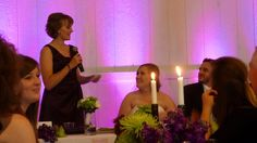 Purple uplighting - quick, easy and amazing.     Get the look! Our lighting packages start at $125.    www.designyourweddingday.com