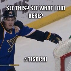 TJ Oshie everybody!  In the net - actually hit hard enough to be stuck in the bars inside the net!!