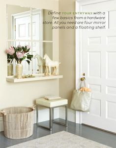small entry - use an old antiqued mirror with a shelf on the wall under it, a white ottoman...or an old bench seat..