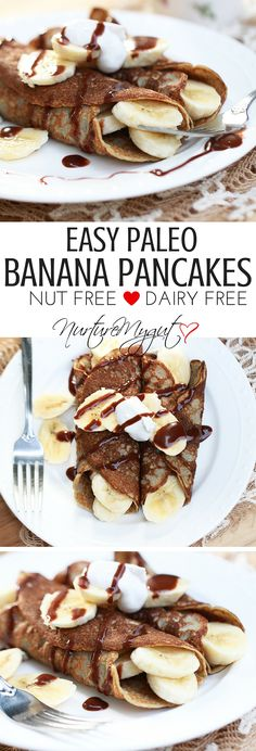 Easy Paleo Banana Pancakes. Naturally sweetened, gluten free, dairy free and nut free. Healthy, easy breakfast. Kid friendly.
