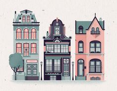 "Row Houses Print - 14"" x 11"" French Paper Speckletone True White 100# Cover, Vintage Inspired"