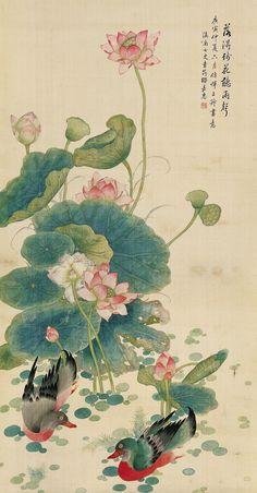 Lotus Painting Chinese Wall Art Mandarine Ducks Flower Painting | Pinterest  | Lotus Painting, Chinese Wall And Lotus