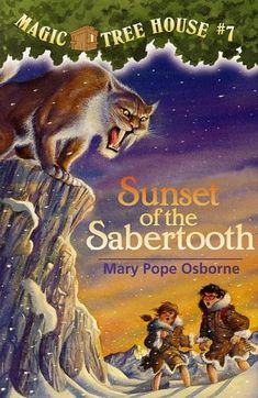 """The Magic Tree House: Sunset of the Sabertooth"" by The Ice Age is very cool for two kids in bathing suits! Jack and Annie nearly freeze when the Magic Tree House whisks them back to the time of cave people and woolly mammoths. But nothing can stop them from having another wild adventure—not even a saber-toothed tiger!"