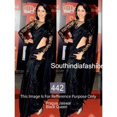 dd3355fa40 Pragya Jaiswal Black Queen Bollywood Replica Saree by Vendorvilla Lace Saree,  Sari Blouse, Silk