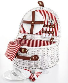 Martha Stewart Collection White Wicker Picnic Basket for 2 - Collections - For The Home - Macy's
