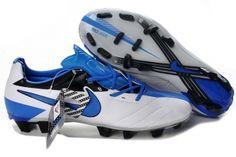 Chaussures de foot nike Total 90 Laser IV FG Blanc Bleu pas cher