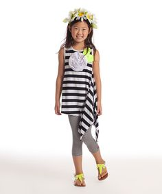 Look what I found on #zulily! Black & White Mimi Tunic & Leggings - Toddler & Girls by KidCuteTure #zulilyfinds