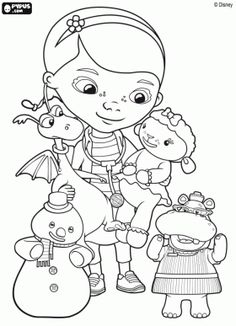 Dottie Doc McStuffins with her toys friends coloring page