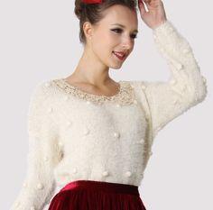 Bling Bling Sequins Collar Fluffy Sweater - $56.90