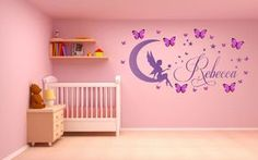 Personalized Monogram Kids Wall Decals Girls Wall Decal Name Vinyl Lettering baby girl nursery wall decal Brittney Monkey >>> Visit the image link more details. Kids Wall Decals, Nursery Wall Decals, Vinyl Wall Art, Bedroom Wall, Personalised Wall Stickers, Vinyl Lettering, Decoration, Fairy, Grey Furniture