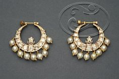 Hyderabadi Chandbali #polki #pearls #gold #hoops