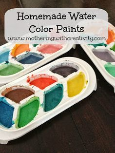 Home made water color paints!  This recipe makes a TON of paint and is made with household kitchen items!  So easy and fun for the kids to make for themselves!