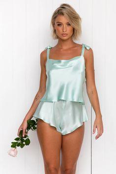 All – Modern Romantique Lady Violet, Average Body, Silk Satin Fabric, Designer Clutch, Perfect Fit, Camisole, Ready To Wear, Feminine, Mint