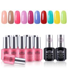 Perfect Summer Gel Nail Polish 10 Colors Nail Lacquers   2 Clear Base Coat and Top Coat Gel Dual Sets Nails Painting Art UV LED Soak Off 12 PCS Starter Kit -23 * You can get more details by clicking on the image.