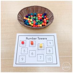 {FREE} A Pinch of Kinder - October 2019 - Simple number sense centre for the beginning of the year. Read the number and stack that many cubes in the box! Numbers Kindergarten, Kindergarten Centers, Kindergarten Classroom, Elementary Math, Math Centers, Fall Packing, School Ot, Middle School, Montessori Activities