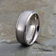 Best Quality Free Gift Box Titanium Grooved 14k Gold Inlay 6mm Brushed And Antiqued Band