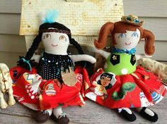 Indian & Cowgirl dolls handmade by Ella's Rella's