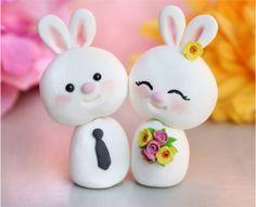 Custom Bunny wedding cake toppers - bride and groom personalized. $74.00, via Etsy.  hehehe