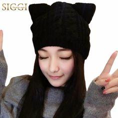 SIGGI Wool Knitted Beanie Skullies Hat With Cat Ears Women Winter 2017 Warm fashion girl 68298  #fashion #style #beautiful #pretty #glam #cute #instastyle #shopping #model #fashionista