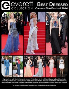 Nicole Kidman in Armani Privé; Blake Lively in Chanel Couture; Cate Blanchett in Givenchy.  Lea Seydoux in Prada; Cate Blanchett in Delpozo; Freida Pinto in Michael Kors; Naomi Watts in Marchesa; Paz Vega in Elie Saab Couture; Jennifer Lawrence in Christian Dior Couture.