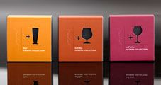 Recchiuti Confections, wine pairing chocolate, diecut/embossed package sleeve.
