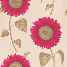 Albany Catwalk (FD30270) - Albany Wallpapers - A stylised floral sunflower design with metallic inks shown here in cream with metallic gold leaves and metallic mulberry petals. Also available in other colour ways. Please request a sample for true colour.