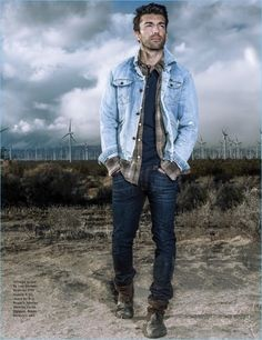 Embracing double denim, Justin Baldoni wears a vintage denim jacket by Lee. He also sports a 1791 Supply & Co. button-down, Roy Roger's jeans, and Jacob Holston henley. Baldoni rocks his own boots. Denim Jacket Fashion, Denim Jacket Men, Mens Fashion, Denim Jackets, Justin Baldoni, Ryan Guzman, Blue Jeans, Forever 21 Men, Revival Clothing