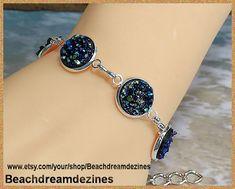 Faux Druzy Bracelet Silver adjustable Ocean by BeachDreamDezines