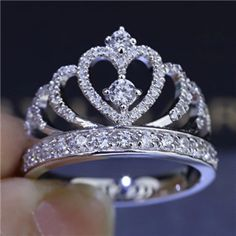 Invincible Glittering Tiara Silver Fake Diamond Crown Engagement Ring for Women