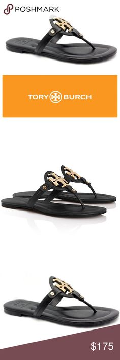 Tory Burch Miller 2 black flip flop sandals 9 Size 9. Worn twice, in excellent condition. From Nordstrom. Buttery black leather with gold metallic logo. See my closet for more great deals on designer items. 15% off a bundle of three or more items. Tory Burch Shoes Sandals
