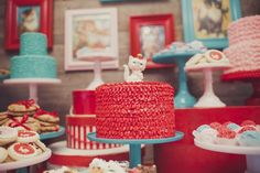 A red ruffle cake is