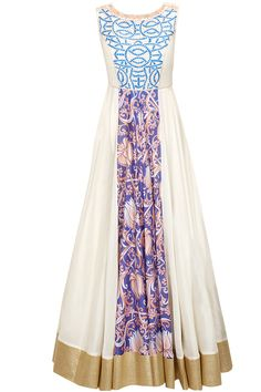 Off-white and blue embroidered anarkali with off-white dupatta available only at Pernia's Pop-Up Shop.