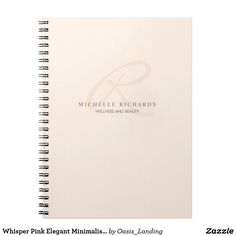 Whisper Pink Elegant Minimalist Monogram Spiral Notebook - Your elegant monogram logo gives this feminine minimalist notebook classy style. Other matching business products available in this design, sold at Oasis_Landing on Zazzle.
