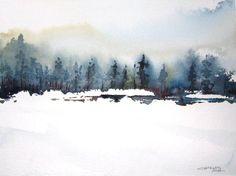 Elk Mountain Original Watercolor Painting by charlesash on Etsy