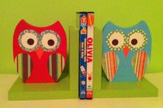 I love owls and I would love to make book ends (or anything owls) similar to this. I would need someone (like maybe my dad) to cut out the wood shapes. Then I would use scrapbook paper to decorate them.