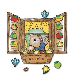 """#CDWish13 This adorable, themed bulletin board set includes:  A bear in a window (approx. 16"""" x 18.5"""") 2 shutters A window box 24 apples 24 flowers 8 ladybugs A bluebird A header A resource guide  Illustrations © Dianne J. HookPublished by Carson-Dellosa Publishing, LLC© Carson-Dellosa Publishing, LLC"""