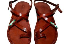 Brown Decor Roxy Leather Sandals for Men & Women by SANDALI